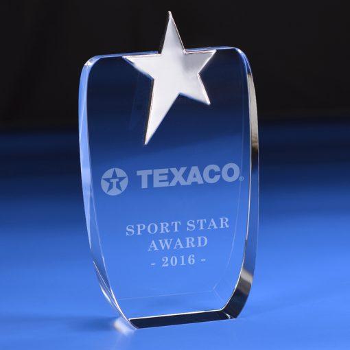 AWSTGL003 ster sterren awards van glas, kristal, plexiglas, acrylaat, metaal en hout