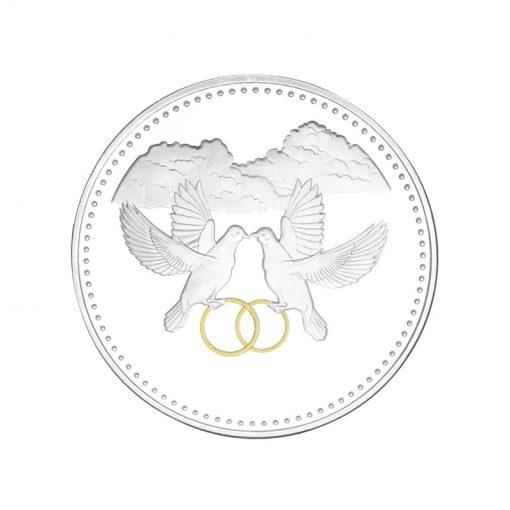 Huwelijks geschenk munt penning laten graveren